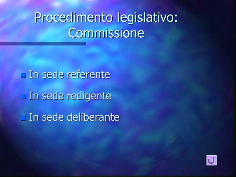Procedimento legislativo: Commissione