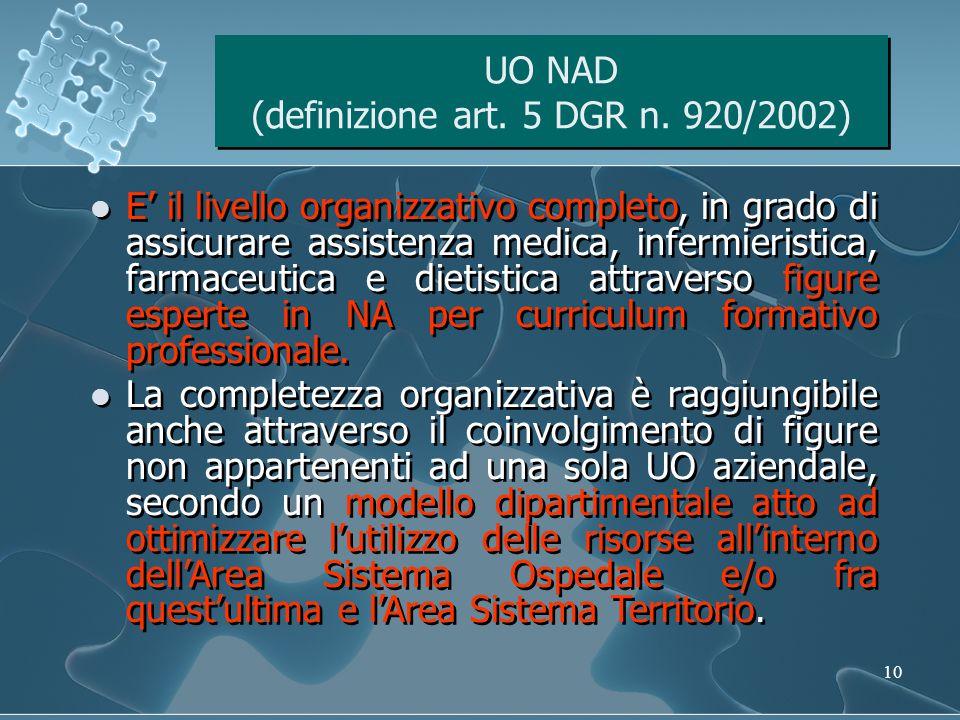 UO NAD (definizione art. 5 DGR n. 920/2002)