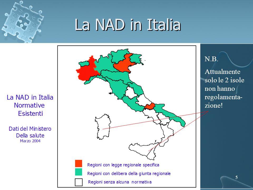 La NAD in Italia N.B. Attualmente solo le 2 isole non hanno regolamenta-zione!