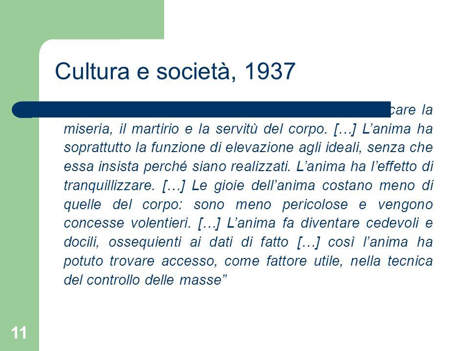 Cultura e società, 1937