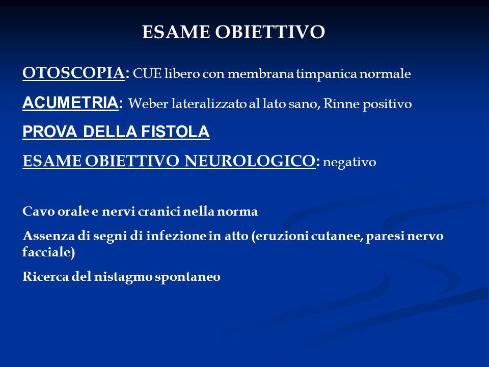 ESAME OBIETTIVO OTOSCOPIA: CUE libero con membrana timpanica normale