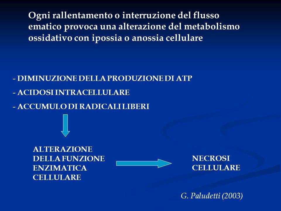 Ogni rallentamento o interruzione del flusso ematico provoca una alterazione del metabolismo ossidativo con ipossia o anossia cellulare
