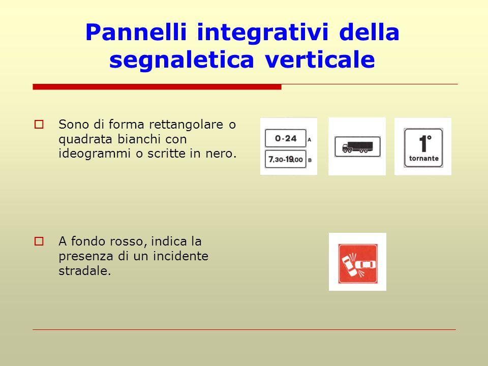 Pannelli integrativi della segnaletica verticale