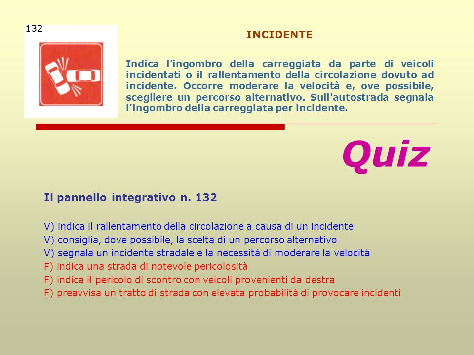 Quiz INCIDENTE Il pannello integrativo n. 132 132