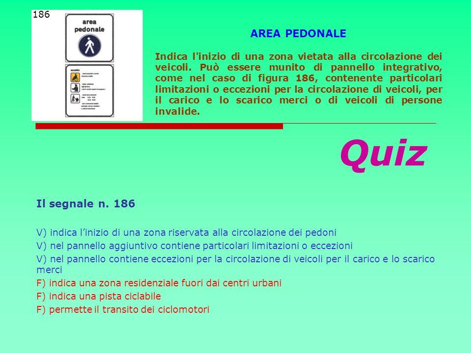 Quiz AREA PEDONALE Il segnale n. 186 186