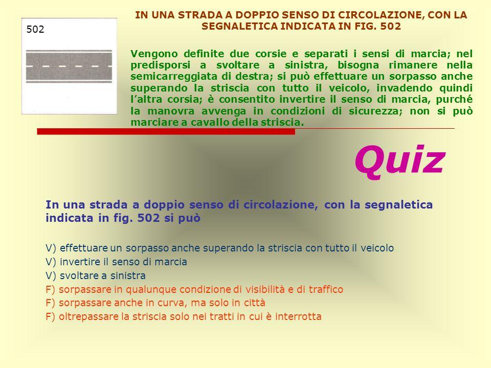 IN UNA STRADA A DOPPIO SENSO DI CIRCOLAZIONE, CON LA SEGNALETICA INDICATA IN FIG. 502