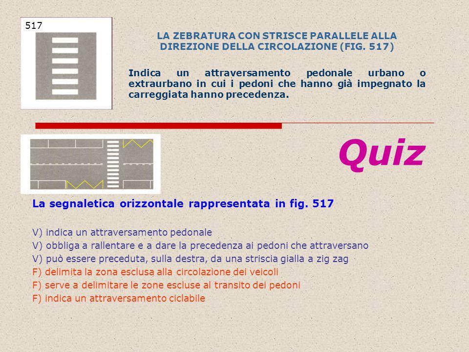 Quiz La segnaletica orizzontale rappresentata in fig. 517 517
