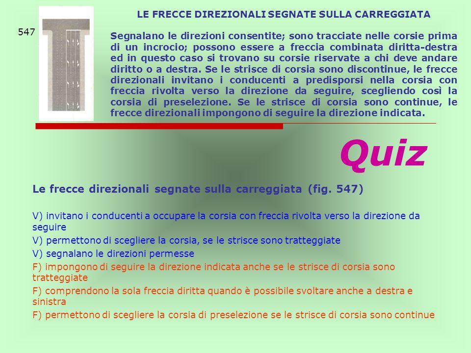 LE FRECCE DIREZIONALI SEGNATE SULLA CARREGGIATA