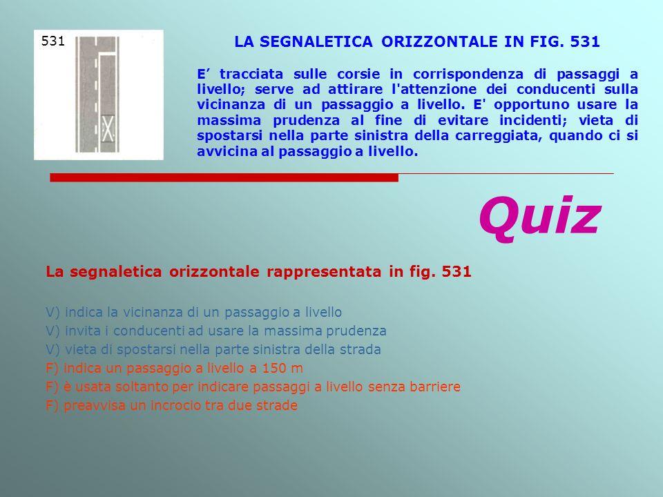LA SEGNALETICA ORIZZONTALE IN FIG. 531