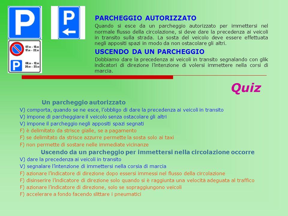 Quiz PARCHEGGIO AUTORIZZATO USCENDO DA UN PARCHEGGIO
