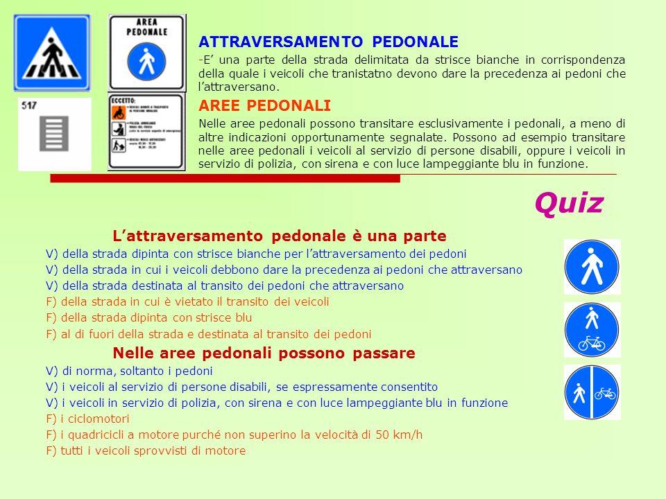 Quiz ATTRAVERSAMENTO PEDONALE AREE PEDONALI