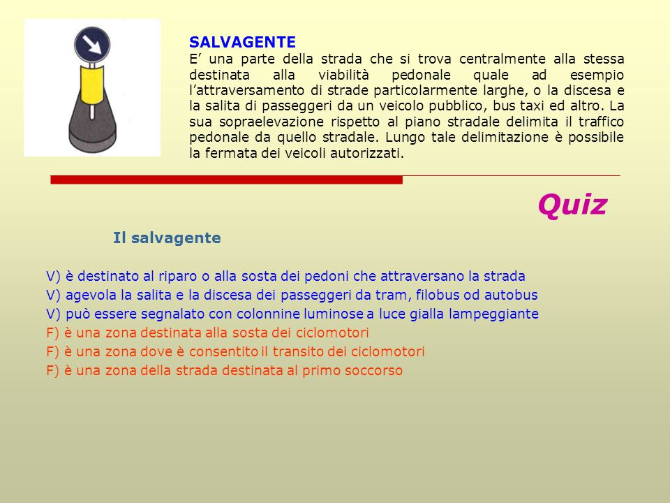 Quiz SALVAGENTE Il salvagente 85