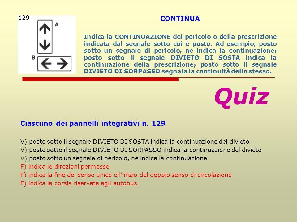 Quiz CONTINUA Ciascuno dei pannelli integrativi n. 129 129