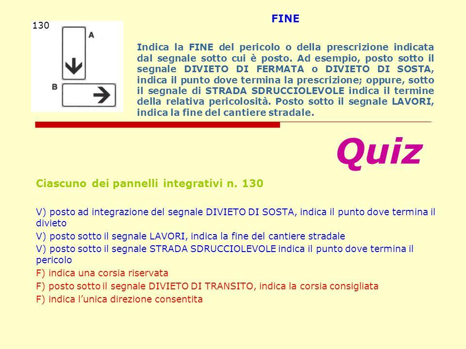 Quiz FINE Ciascuno dei pannelli integrativi n. 130 130