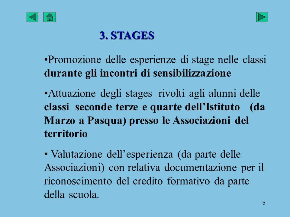 3. STAGES Promozione delle esperienze di stage nelle classi durante gli incontri di sensibilizzazione.