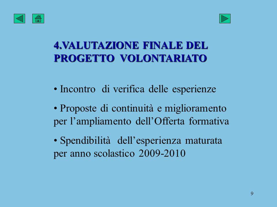 4.VALUTAZIONE FINALE DEL PROGETTO VOLONTARIATO