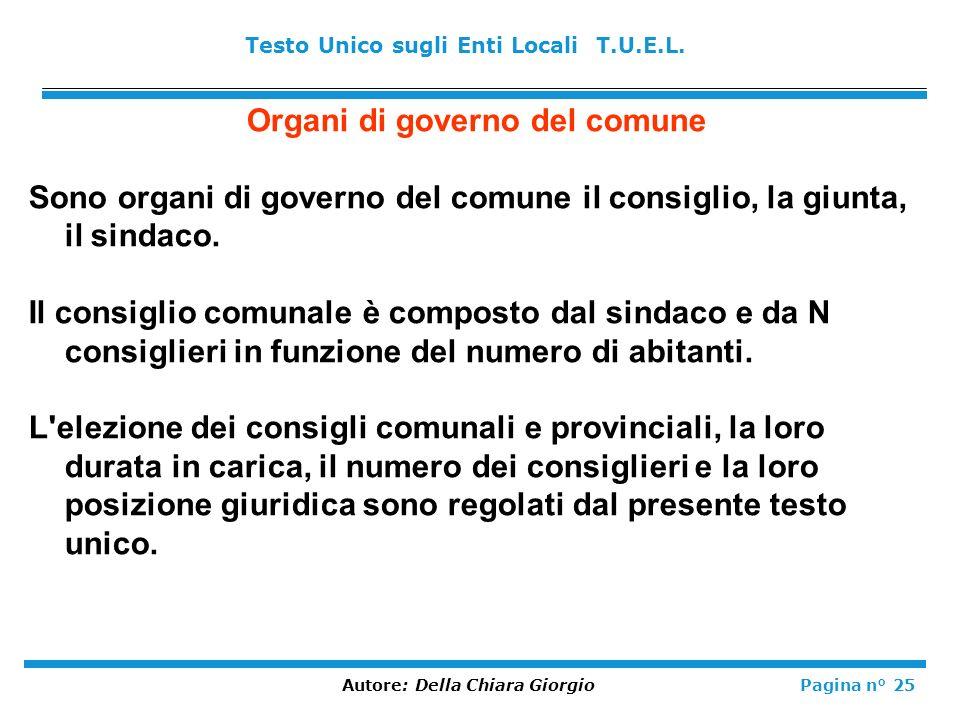 Organi di governo del comune