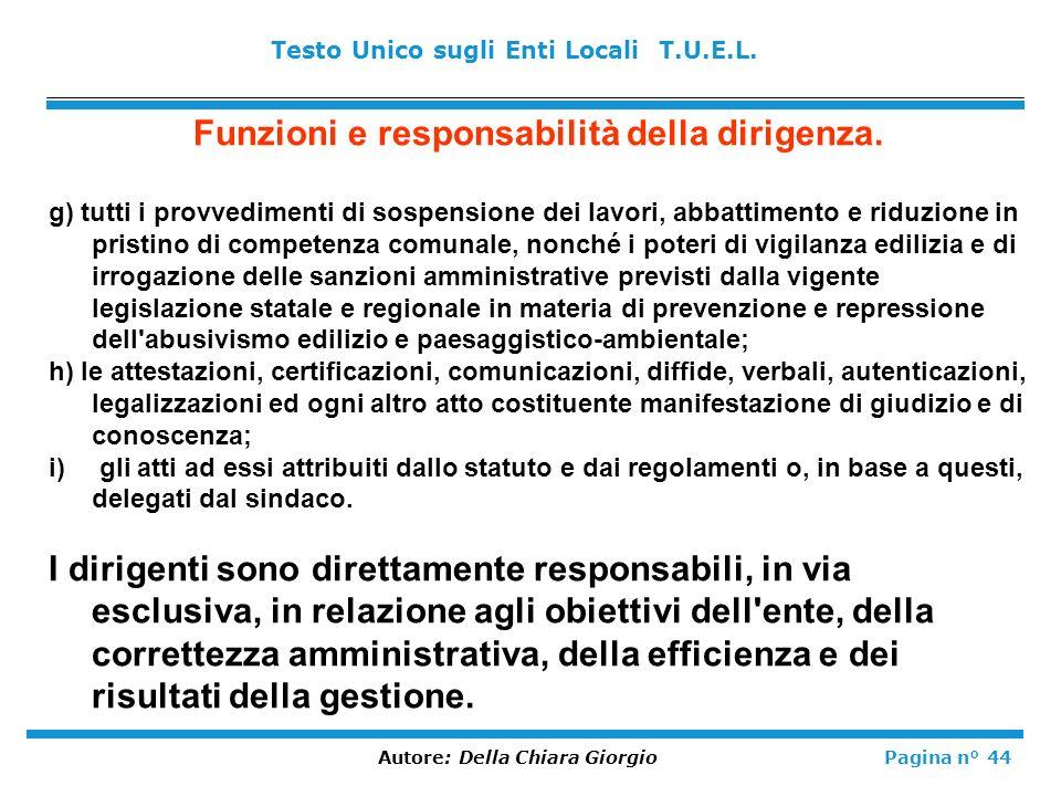 Funzioni e responsabilità della dirigenza.