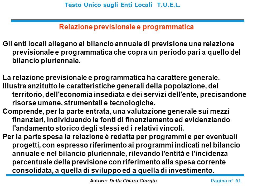 Relazione previsionale e programmatica