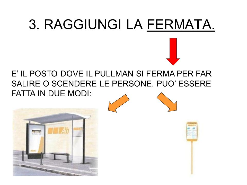 3. RAGGIUNGI LA FERMATA.