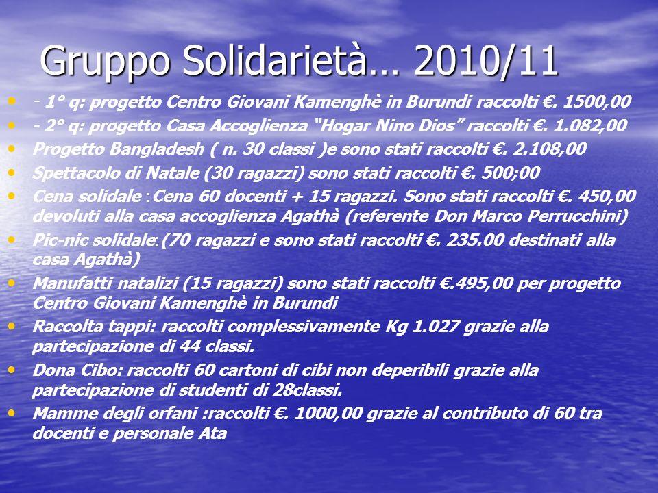 Gruppo Solidarietà… 2010/11 - 1° q: progetto Centro Giovani Kamenghè in Burundi raccolti €. 1500,00.