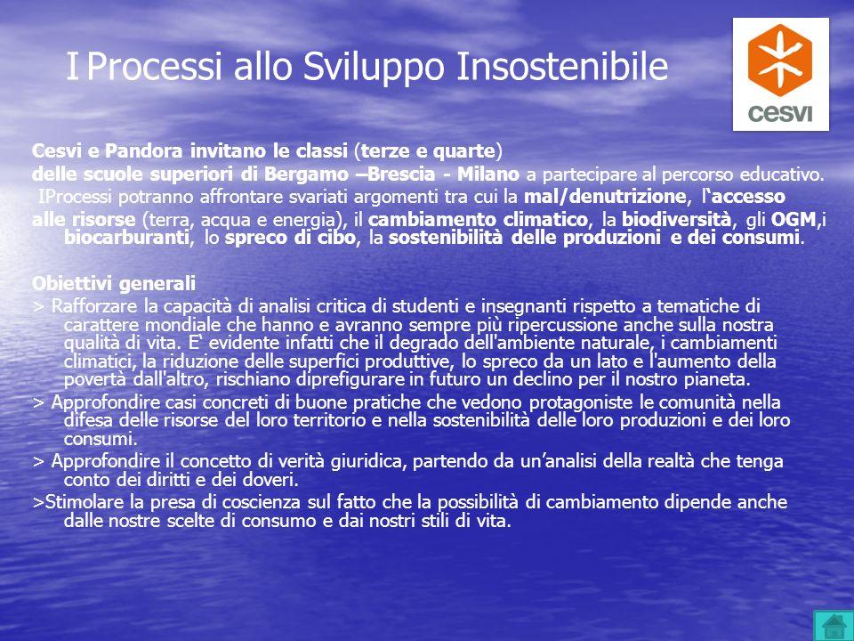I Processi allo Sviluppo Insostenibile