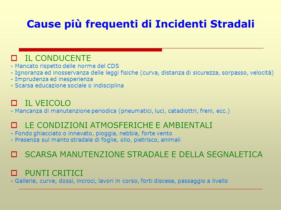 Cause più frequenti di Incidenti Stradali