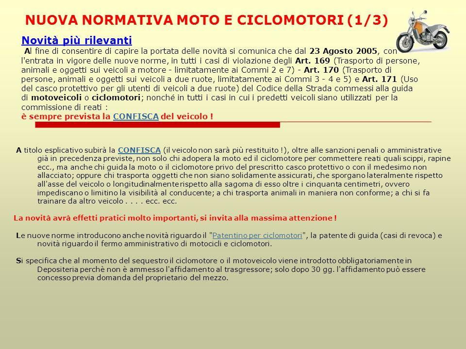 NUOVA NORMATIVA MOTO E CICLOMOTORI (1/3)