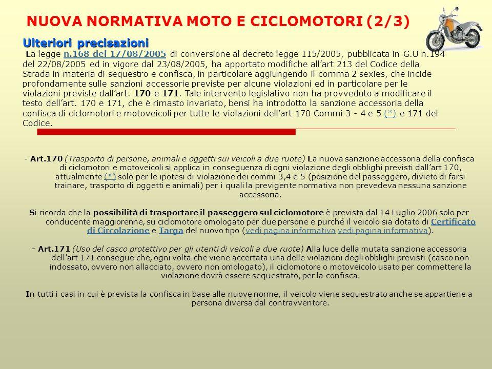 NUOVA NORMATIVA MOTO E CICLOMOTORI (2/3)