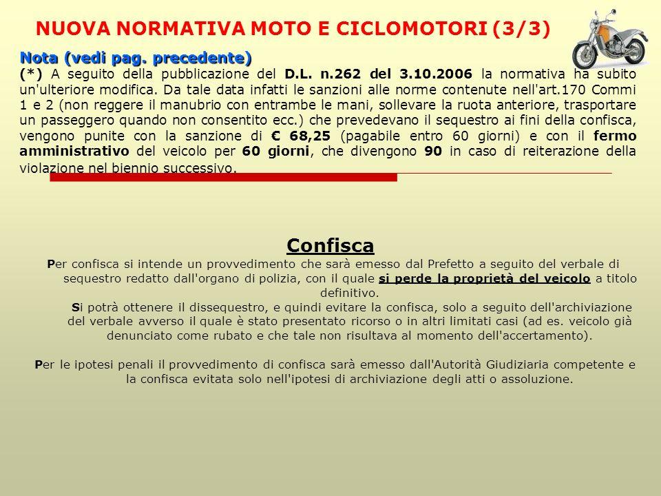 NUOVA NORMATIVA MOTO E CICLOMOTORI (3/3)