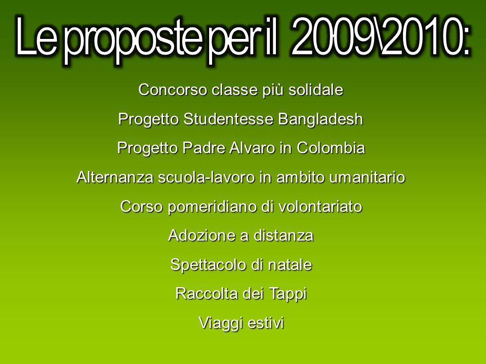 Le proposte per il 2009\2010: Concorso classe più solidale
