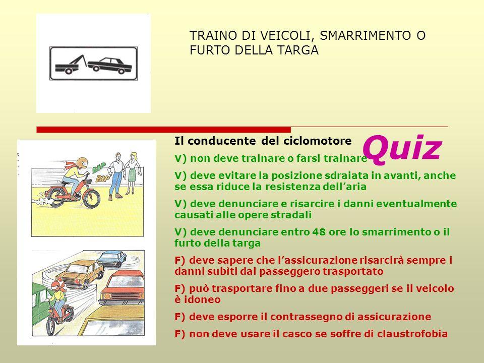 Quiz TRAINO DI VEICOLI, SMARRIMENTO O FURTO DELLA TARGA