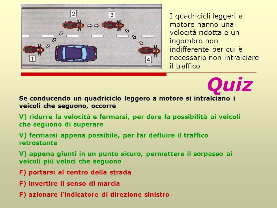 I quadricicli leggeri a motore hanno una velocità ridotta e un ingombro non indifferente per cui è necessario non intralciare il traffico