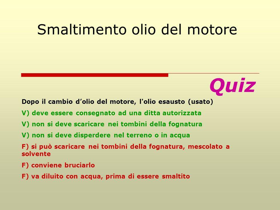 Quiz Smaltimento olio del motore