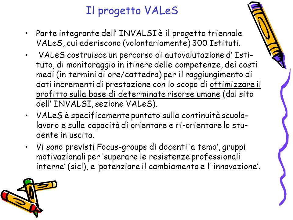Il progetto VALeS Parte integrante dell' INVALSI è il progetto triennale VALeS, cui aderiscono (volontariamente) 300 Istituti.