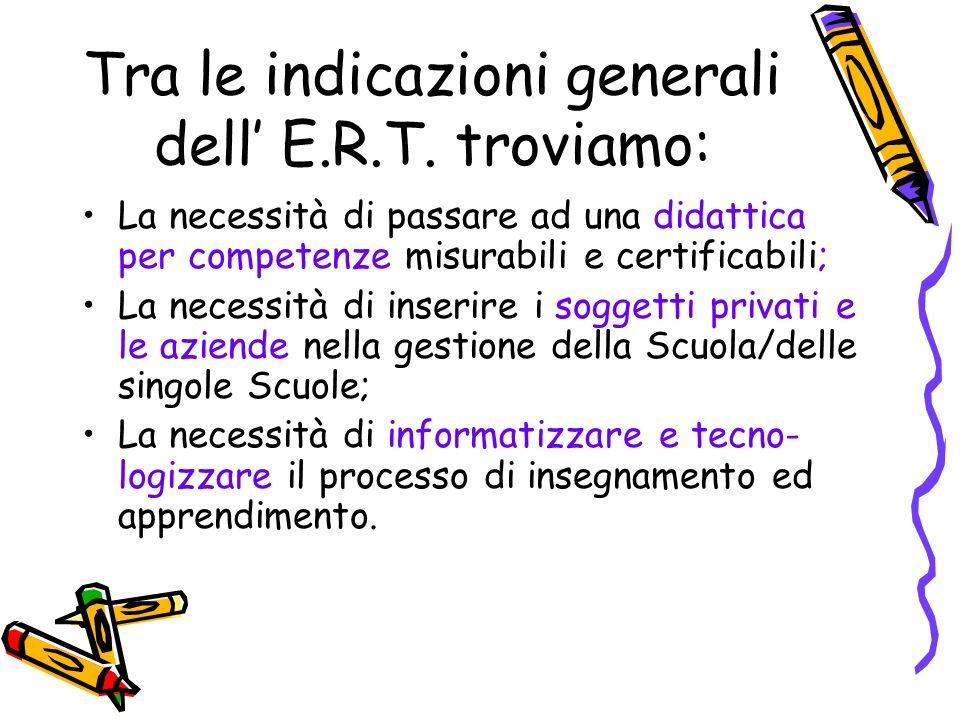 Tra le indicazioni generali dell' E.R.T. troviamo:
