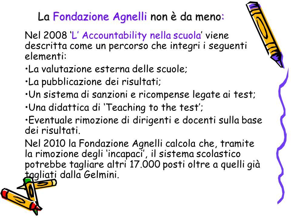 La Fondazione Agnelli non è da meno: