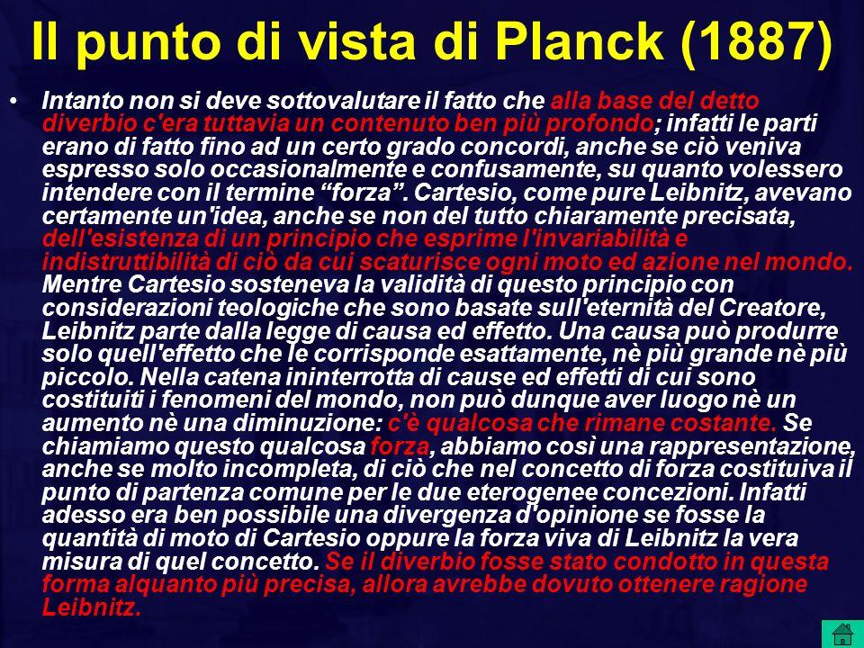 Il punto di vista di Planck (1887)