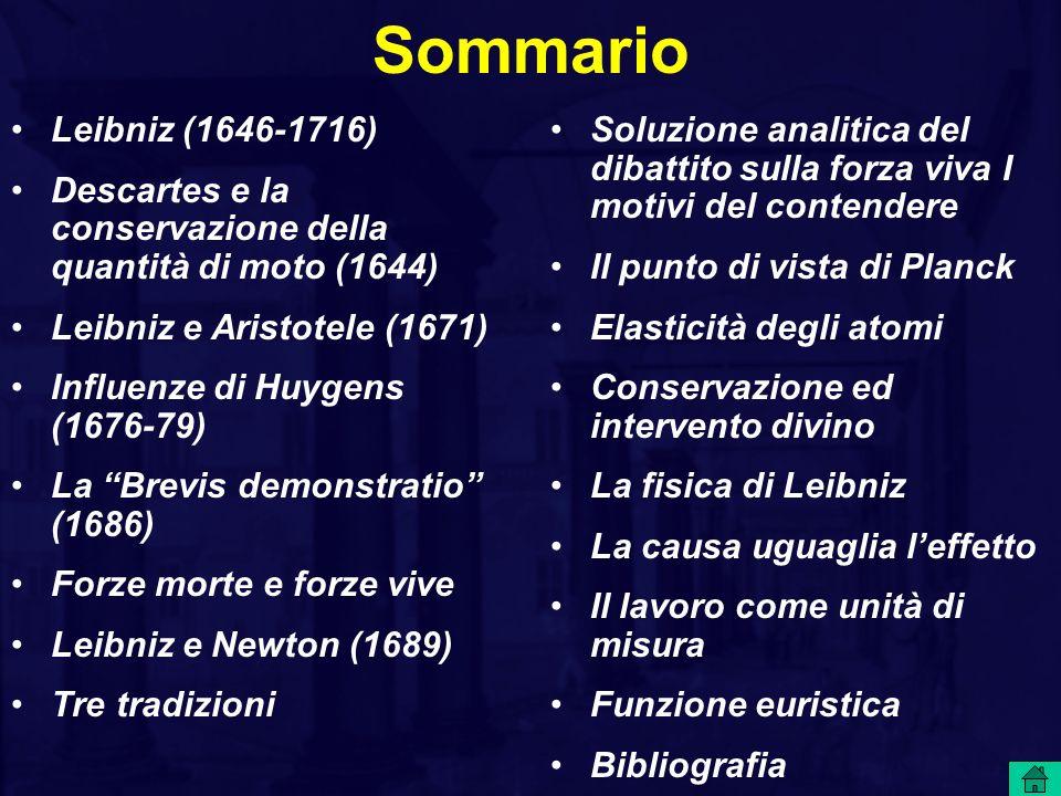Sommario Leibniz (1646-1716) Descartes e la conservazione della quantità di moto (1644) Leibniz e Aristotele (1671)