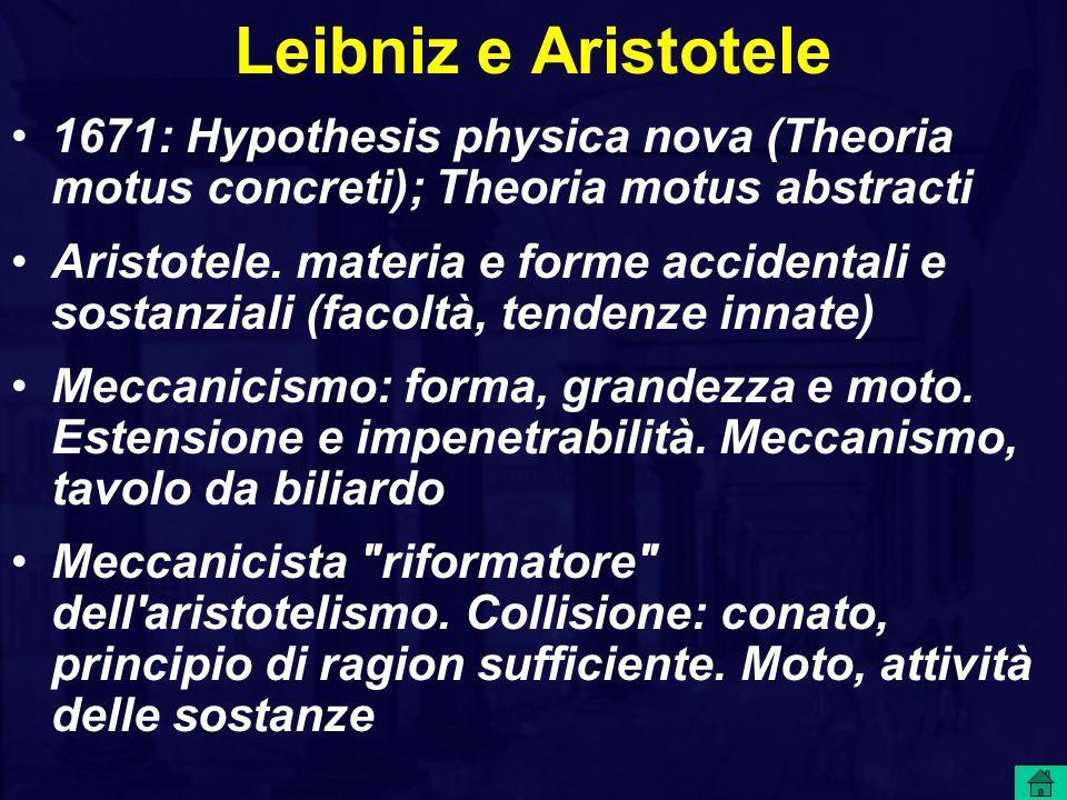 Leibniz e Aristotele 1671: Hypothesis physica nova (Theoria motus concreti); Theoria motus abstracti.
