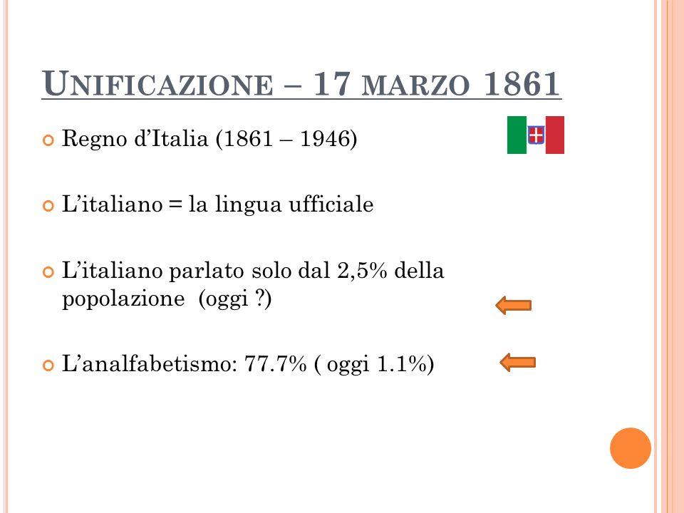 Unificazione – 17 marzo 1861 Regno d'Italia (1861 – 1946)