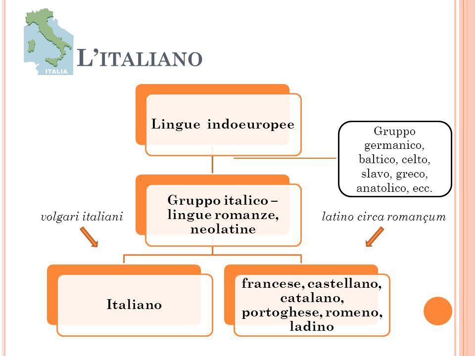 L'italiano francese, castellano, catalano, portoghese, romeno, ladino