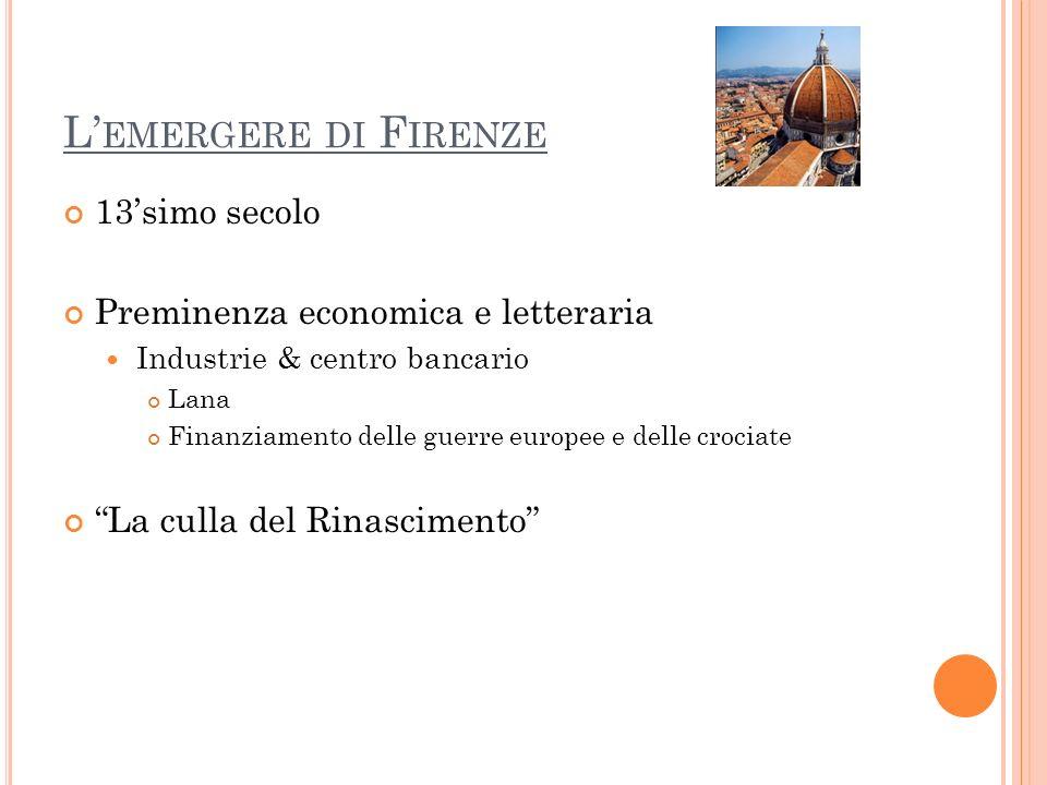 L'emergere di Firenze 13'simo secolo Preminenza economica e letteraria
