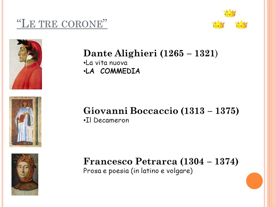 Le tre corone Dante Alighieri (1265 – 1321)