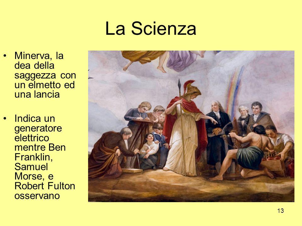 La Scienza Minerva, la dea della saggezza con un elmetto ed una lancia