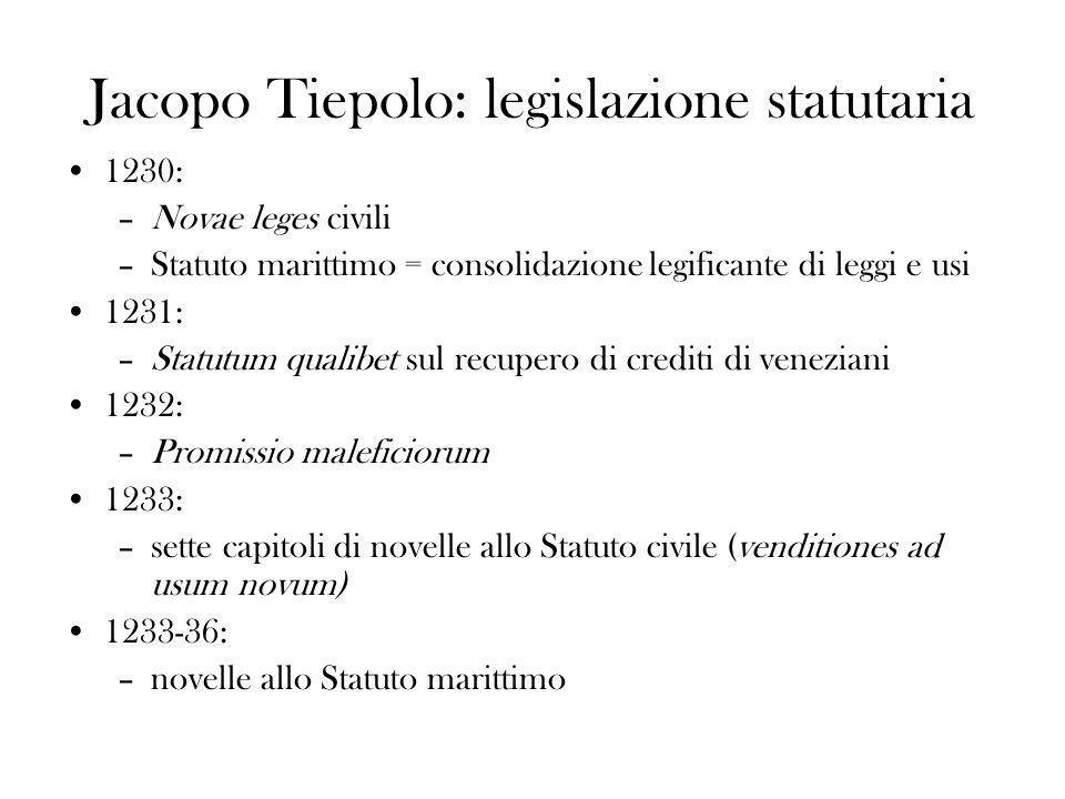 Jacopo Tiepolo: legislazione statutaria