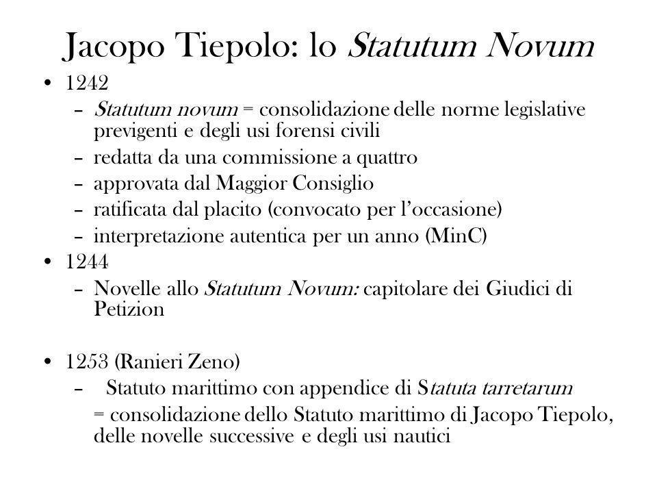 Jacopo Tiepolo: lo Statutum Novum