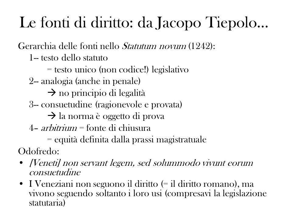 Le fonti di diritto: da Jacopo Tiepolo…
