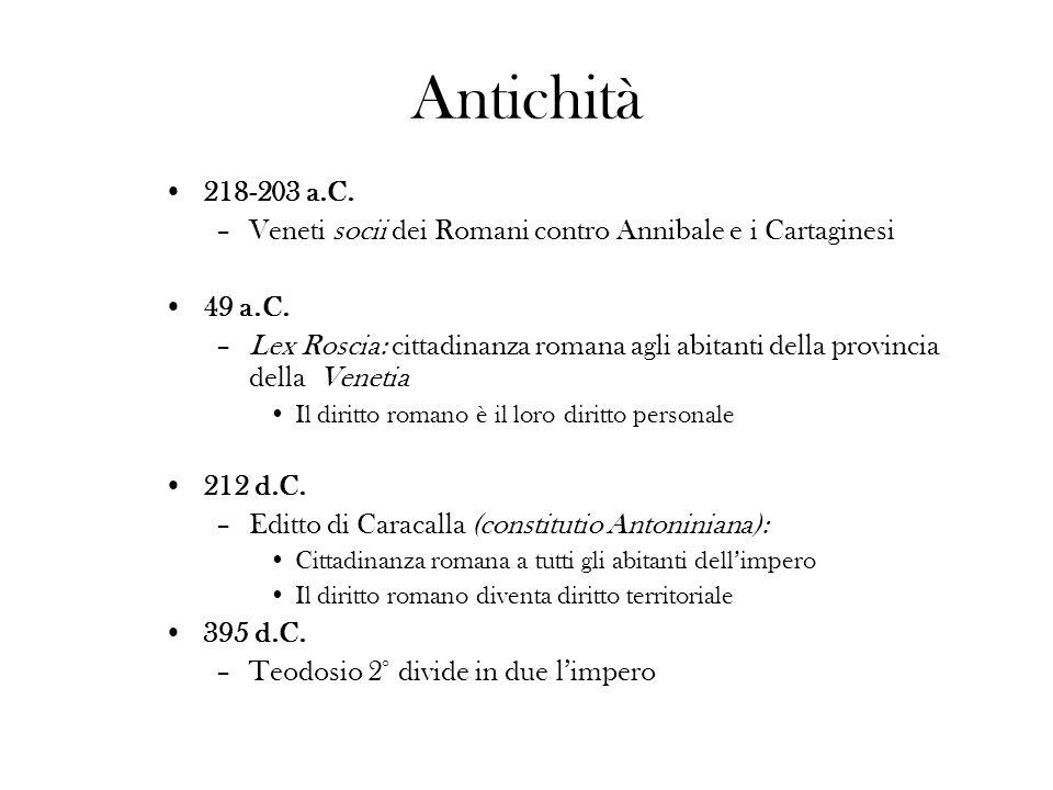 Antichità218-203 a.C. Veneti socii dei Romani contro Annibale e i Cartaginesi. 49 a.C.