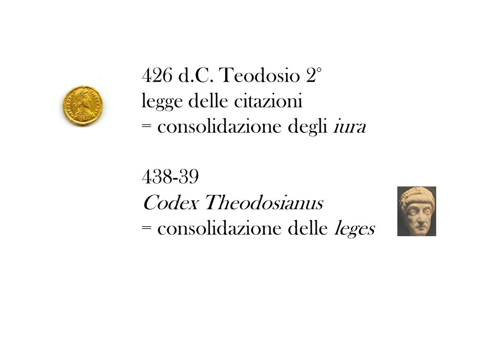 426 d.C. Teodosio 2° legge delle citazioni. = consolidazione degli iura. 438-39. Codex Theodosianus.